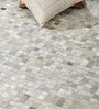 Silver & Grey Leather 92 x 64 Inch Hand Made Carpet by HDP