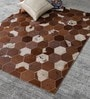 HDP Tan & Brown Leather 72 x 48 Inch Hand Made Carpet