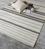 White & Brown Wool 80 x 56 Inch Hand Woven Flat Weave Area Rug by HDP