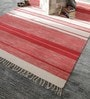 White & Red Cotton 92 x 64 Inch Hand Woven Flat Weave Area Rug by HDP