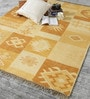 Yellow Wool 80 x 56 Inch Indian Hand Made Knotted Carpet by HDP