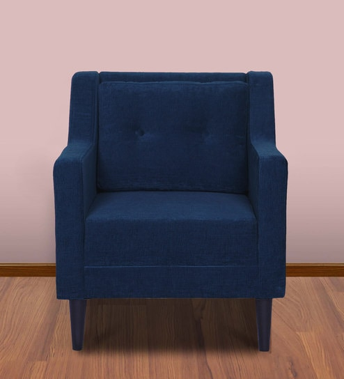Heather Single Seater Sofa In Deep Blue Colour By Russet