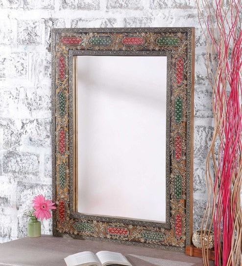 Buy Red & Green Mango Wood Dashing Hand Painted Framed Mirror by ...