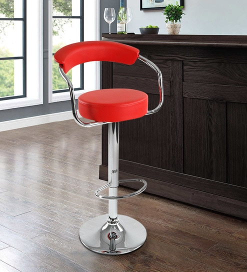 Drake Metal Swivel Bar Stool In Red Colour By Worke Interio