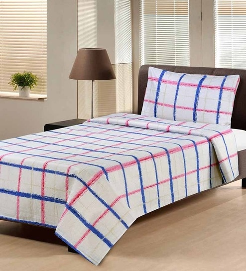 Hemlines Blue Cotton Striped U0026 Checkered Single Bed Sheet (with Pillow  Cover)   Set