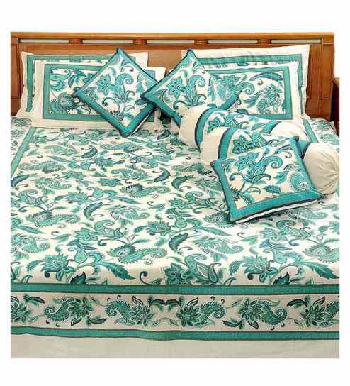 Heritage Blue Anokhi Gold 100% Cotton Double Bedsheet Set