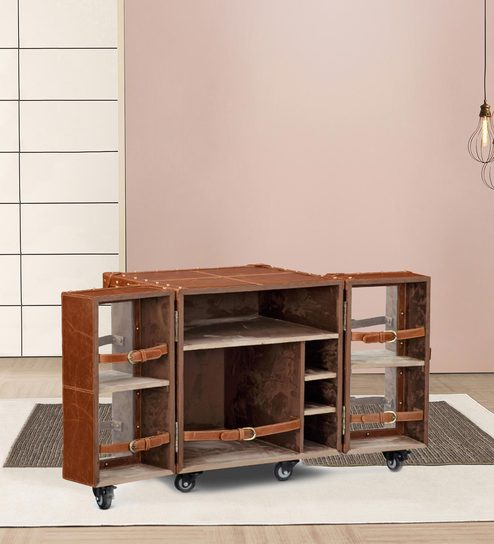 Buy Heritage Mini Trunk Bar Cabinet In Tan Brown Leather By Studio