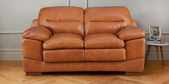 Buy Hemsworth Leather Two Seater Sofa In Honey Colour By Hometown