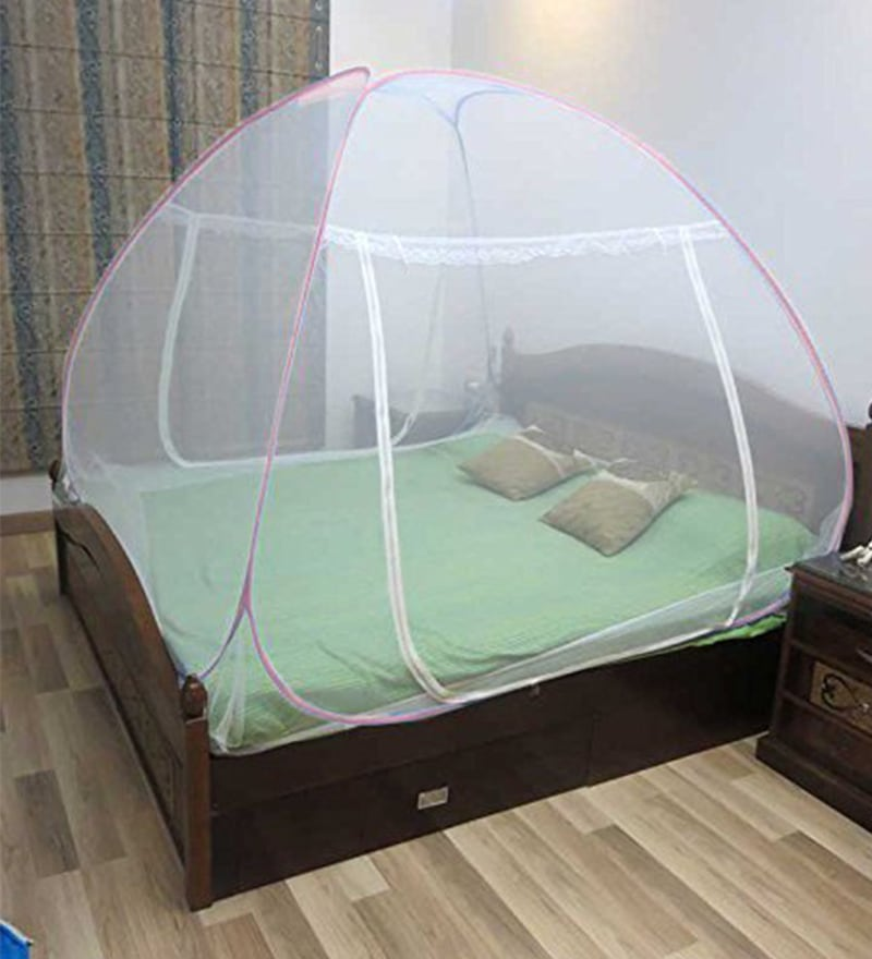 Healthgenie Double Bed Foldable Pink Nylon Mosquito Net