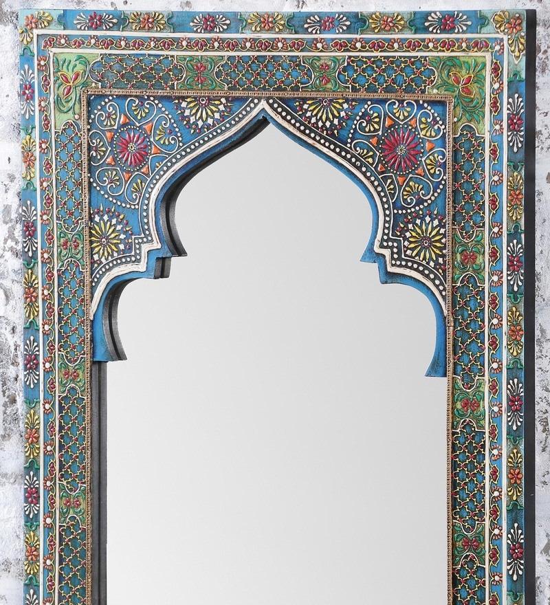 Buy Grey Mango Wood Mehrab Style Painted Framed Mirror By