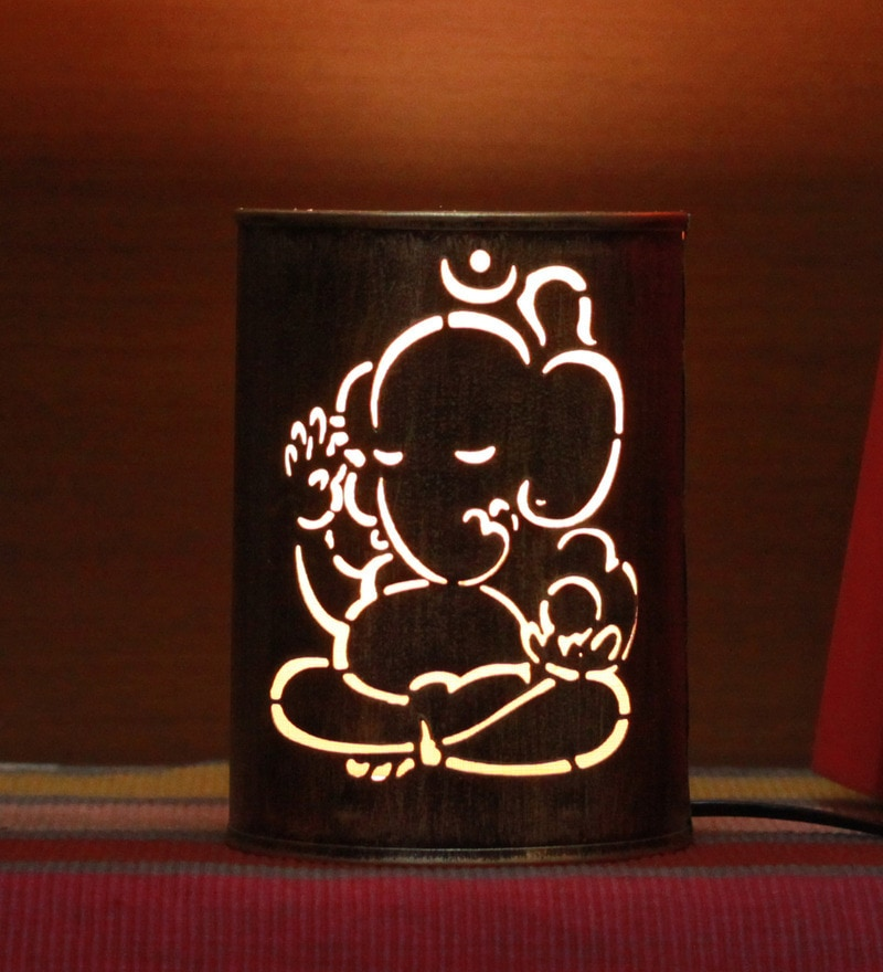 Gold Iron Ganesha Table lamp by Aasras