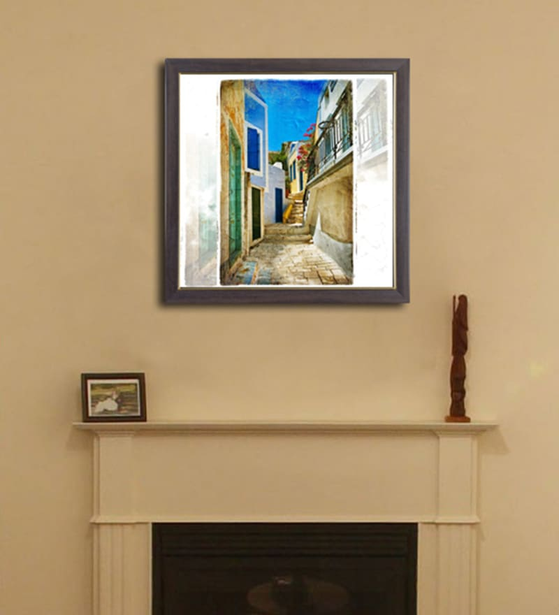 Height of Designs PVC 12 x 12 Inch Santorini Framed Wall Painting