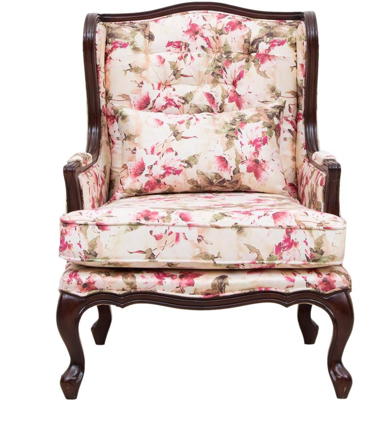 Buy Lorraine Wing Chair With Wooden Frame In Salmon Pink