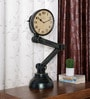 Black Solid Wood Heavy Lamp Vintage Desk Clock by Ethnic Clock Makers