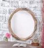 Beige Mango Wood Metal Fitted Natural Finish Framed Mirror by Heera Hastkala