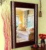 Heera Hastkala Brown & Brass Wooden Framed Decorative Mirror