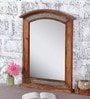 Brown Mango Wood Curved Top Honey Finish Framed Mirror by Heera Hastkala