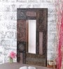 Deep Brown Mango Wood Tribal Design Framed Mirror by Heera Hastkala
