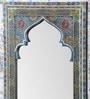 Grey Mango Wood Mehrab Style Painted Framed Mirror by Heera Hastkala