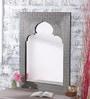 Grey Mango Wood Metal Fitted Mehrab Style Framed Mirror by Heera Hastkala