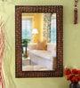 Multicolour Wooden Meena Painted Decorative Mirror by Heera Hastkala