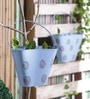 Aasra Blue Iron Bucket Planter Set