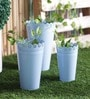 Height of Designs Blue Iron Planter - Set of 3