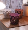 Multicolour Iron Floral Tea Light Votive - Set of 3 by Height of Designs