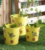 Height of Designs Yellow Iron Bee Planter - Set of 3