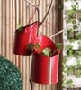 Aasra Red Iron Leaf Design Bucket Planter - Set of 4