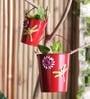 Aasra Red Iron Planter - Set of 3