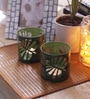 Green Iron Wild Leaf Tea Light Votive by Aasra