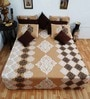 Heritage Fabs Beige Cotton Motif Double Bed Sheet (with Pillow Cover) - Set of 3