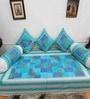 Heritagefabs Blue Cotton Anokhi 6-piece Diwan Set