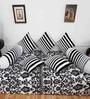 Heritagefabs Black & White Cotton 8-piece Diwan Set