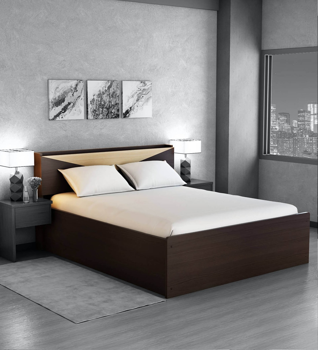 Buy Hiroki Queen Size Bed With Headboard Storage In Walnut Finish By Mintwud Online Modern Queen Size Beds Beds Furniture Pepperfry Product