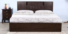Hideki Blackline Queen Size Bed with Hydraulic Storage in Wenge Finish