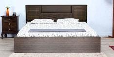 Hideki Goldline Queen Size Bed with Box Storage in Walnut Finish