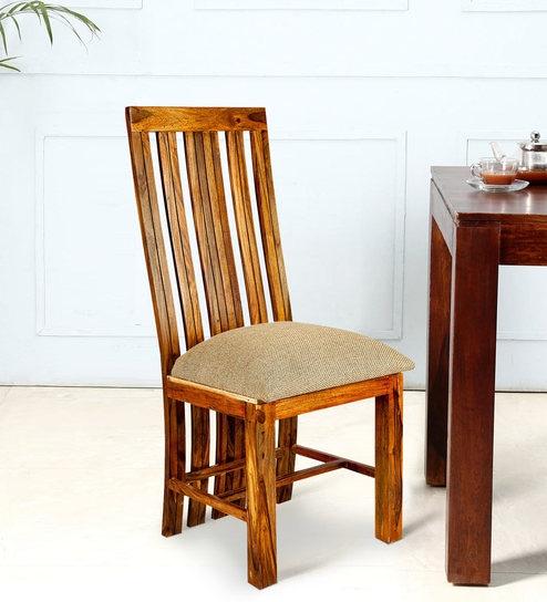 High Back Sheesham Wood Dining Chair In Golden Oak Finish By Karigar