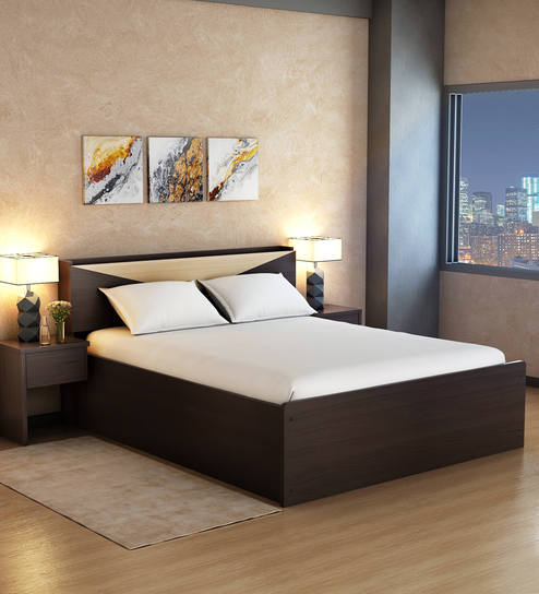 Buy Hiroki Queen Size Bed With Headboard Storage In Walnut Finish By