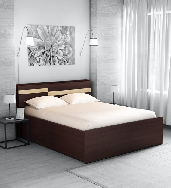 Buy Hisao Queen Size Bed With Headboard Storage In Walnut Finish Mintwud By Pepperfry Online Modern Queen Size Beds Beds Furniture Pepperfry Product