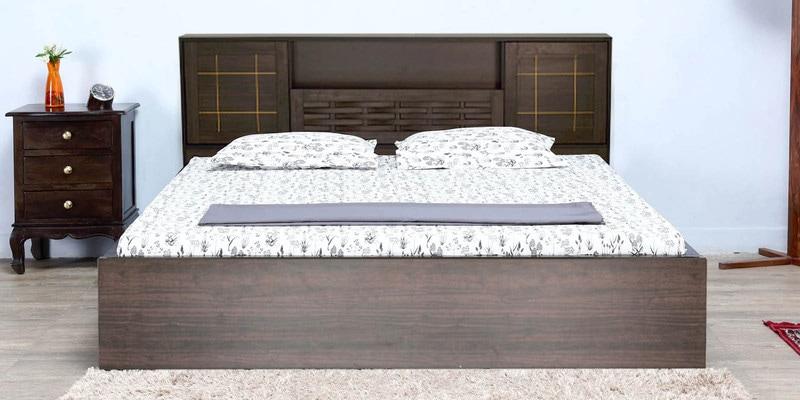 Hideki Goldline Queen Size Bed with Box Storage in Walnut Finish by Mintwud