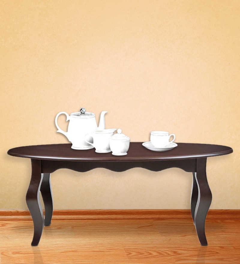 Hibiscus Oval Coffee Table in Walnut Finish by ARRA