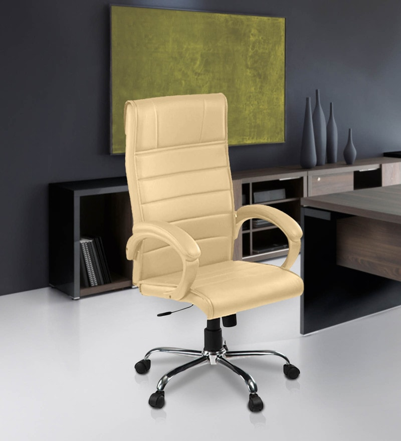 High Back Revolving Chair with Centre Tilt Mechanism in Beige Leatherette by Debono