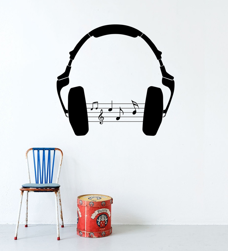 Black Self Adhesive Polyvinyl Film Headphone Wall Decal by Highbeam Studio