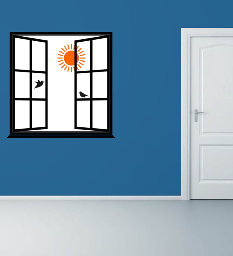 Black Self Adhesive Polyvinyl Film Morning Window Wall Decal by Highbeam Studio