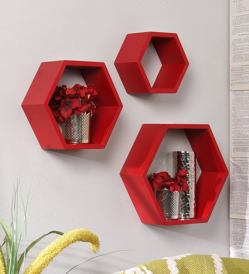 Red Engineered Wood Hexagonal Sturdy Wall Shelf - Set of 3 by AYMH