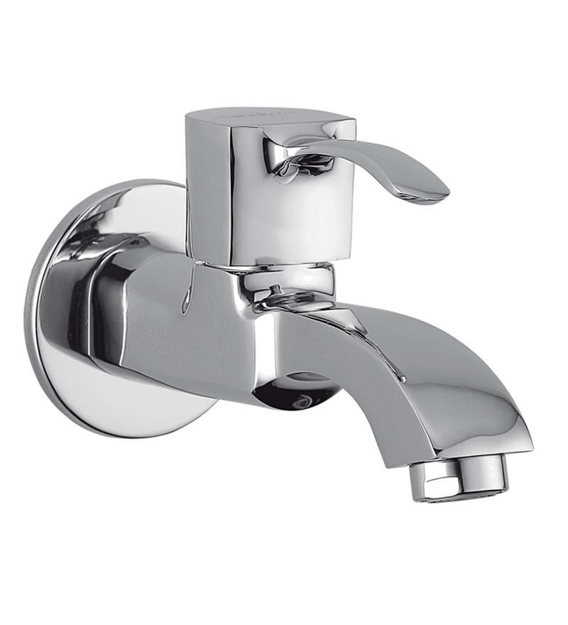 Hindware Cornnice Silver Brass Bib Cock with Wall Flange (Model: F230002Cp)