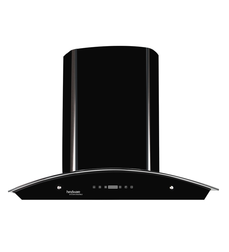 Hindware Nevio Black 60 cm 1200 m3/h Auto Clean Touch Hood Chimney with LED Lamps