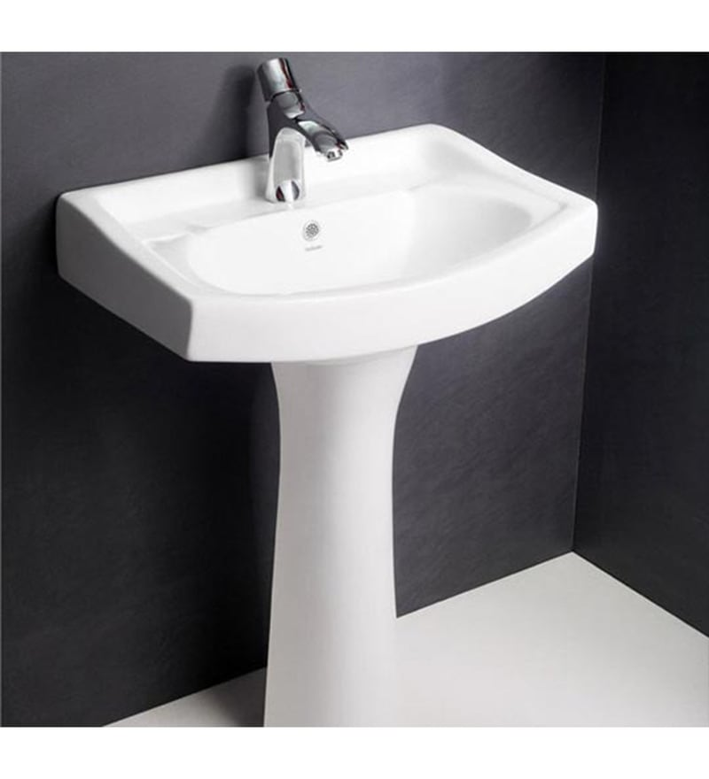 Hindware Standard White Ceramic Full Pedestal Wash Basin 10001